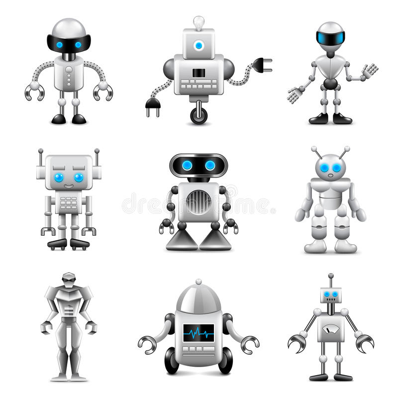 Robots icons vector set stock illustration