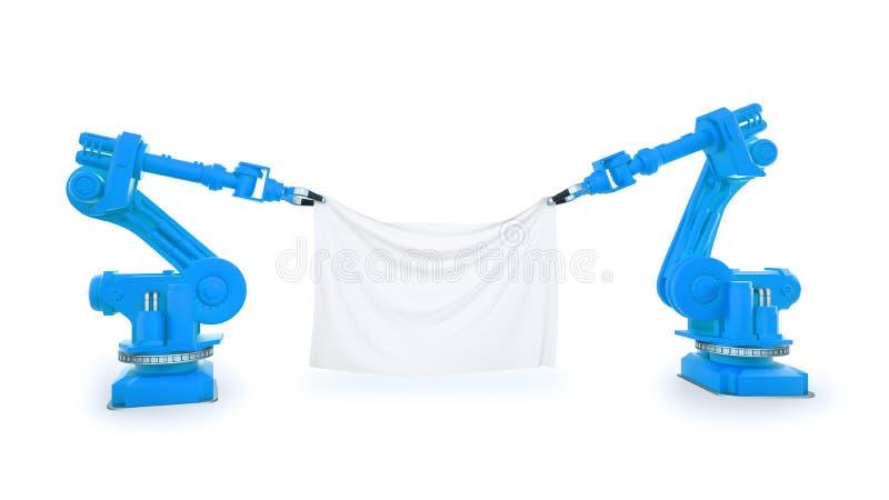 Robots industriales con una bandera fotografía de archivo libre de regalías