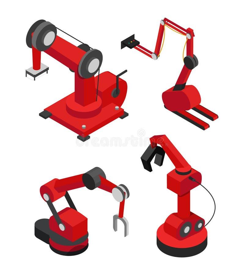 Robots industriales fijados para la producción eficiente ilustración del vector
