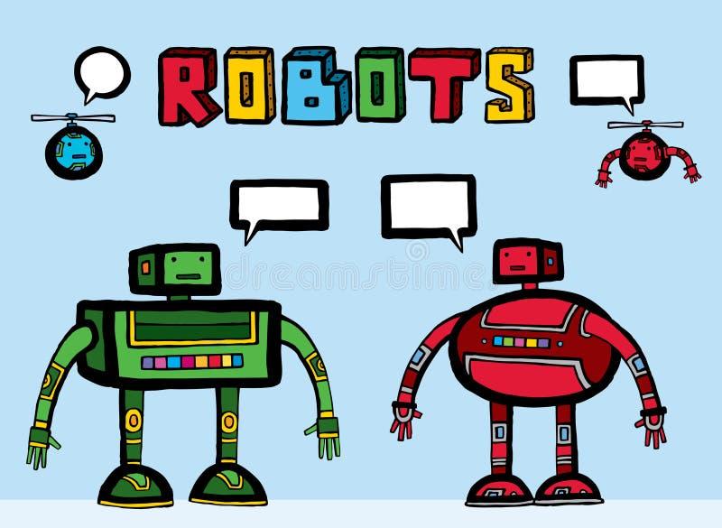 robots intéressants deux d'ajouts utiles illustration de vecteur