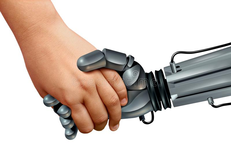 Robots And Kids. Or artificial intelligence educational robotics as a child holding the hand of a cyborg with 3D render elements vector illustration