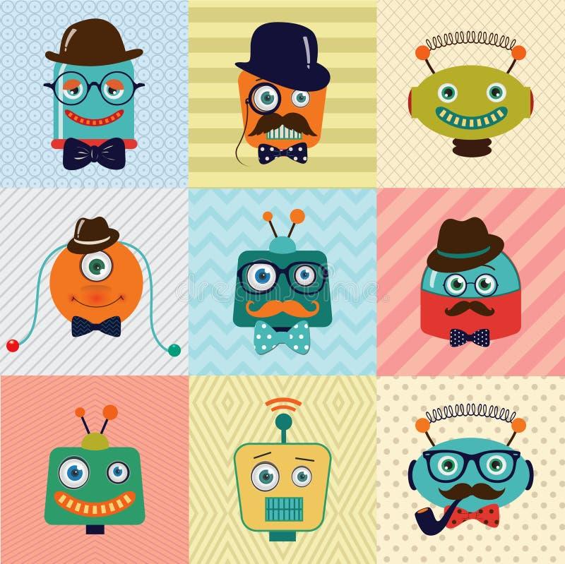 Robots lindos de la moda del vintage del inconformista ilustración del vector