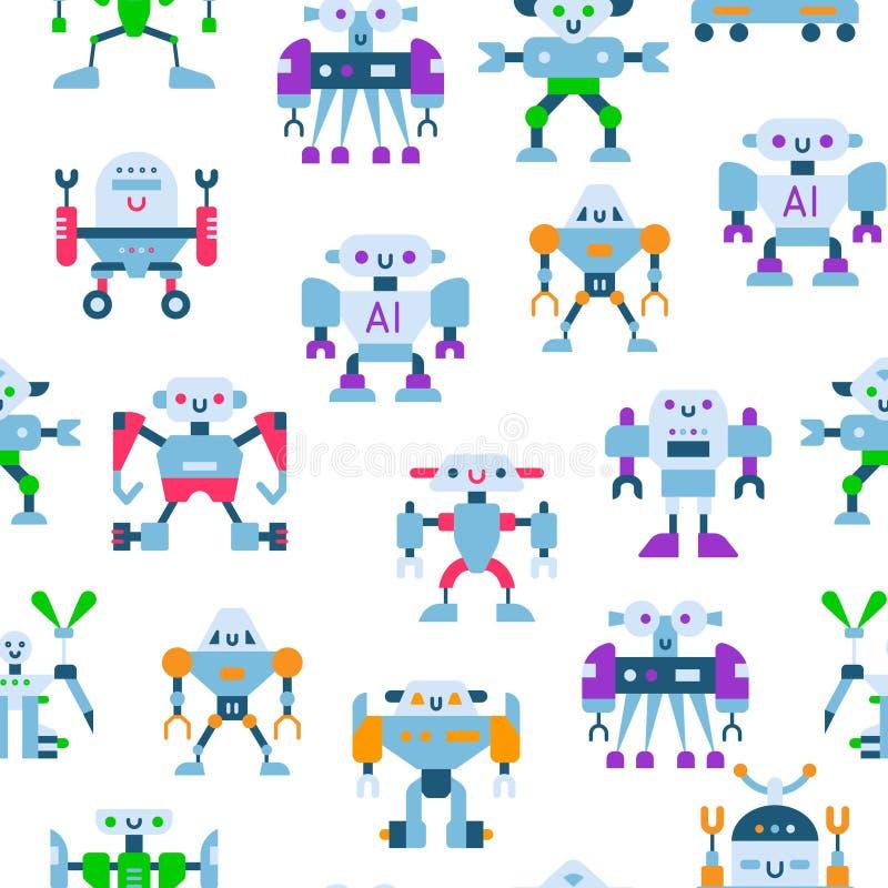 Robots lindos del juguete con el modelo inconsútil del vector de las antenas y de los alambres Los niños juegan el fondo robótico ilustración del vector