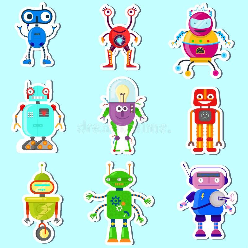 Robots lindos del witn de las etiquetas engomadas libre illustration
