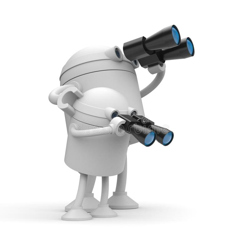 Robots looks in binocular. Maybe it`s a fathermother and son royalty free illustration