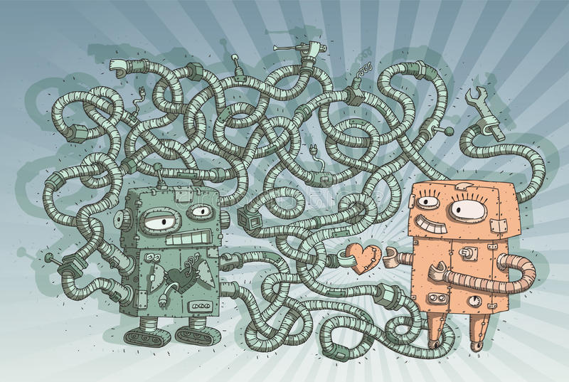 Robots in Love Maze Game vector illustration