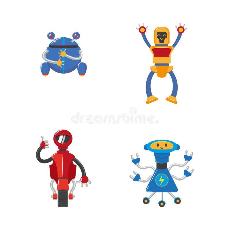 Robots masculinos divertidos de la historieta plana del vector fijados libre illustration