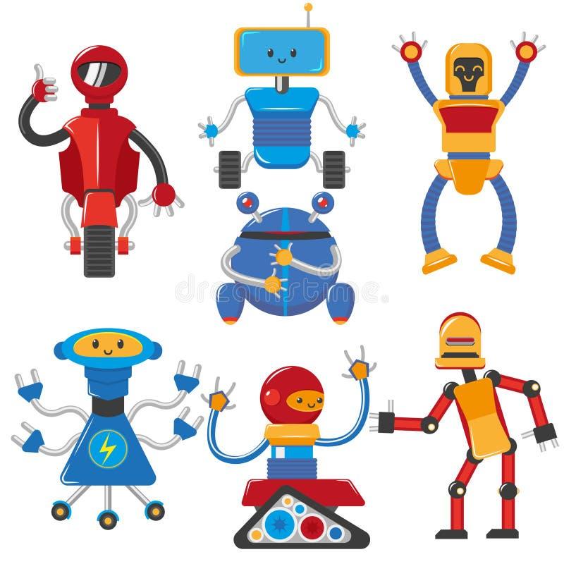 Robots masculinos divertidos de la historieta plana del vector fijados ilustración del vector