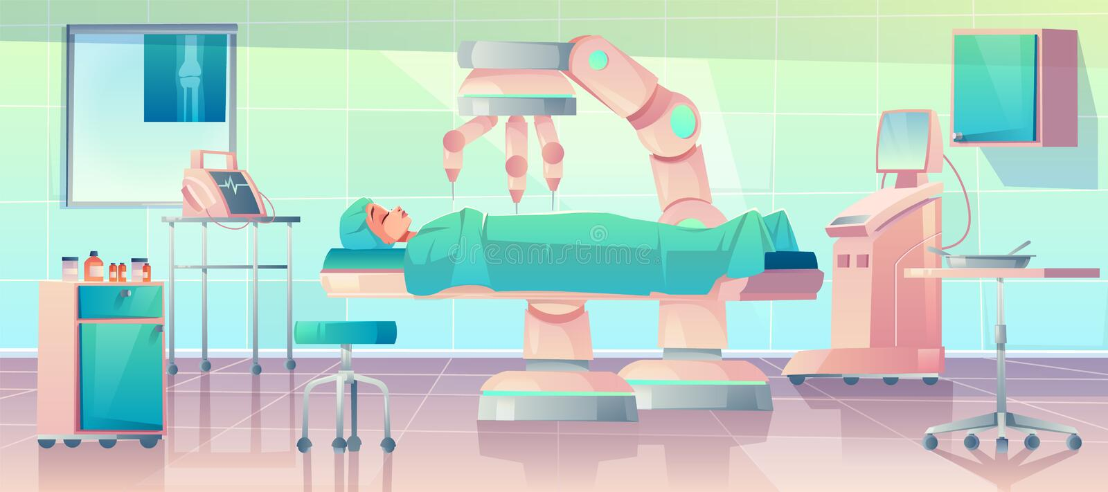 Robots in medicine, surgery, operation, royalty free illustration