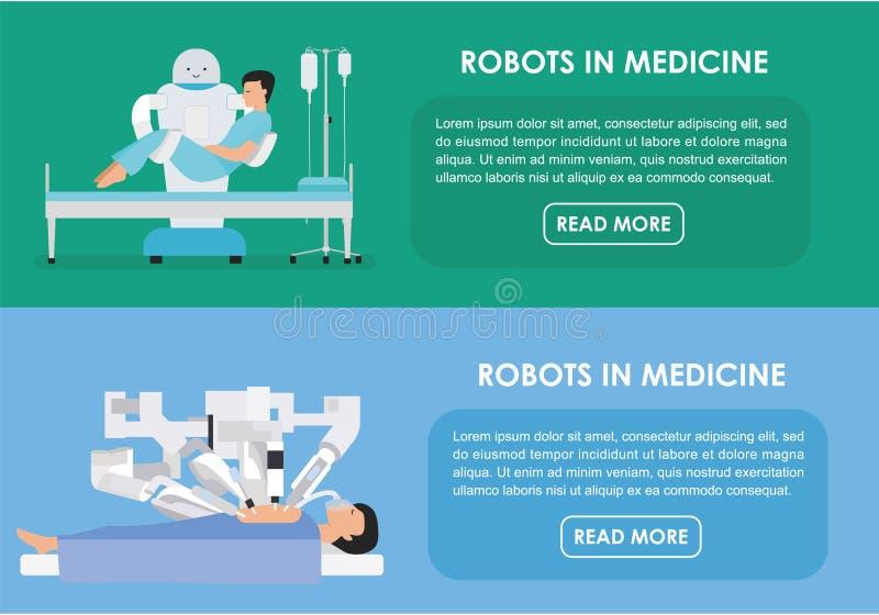 Robots in medicine. Vector illustration. Flat royalty free illustration
