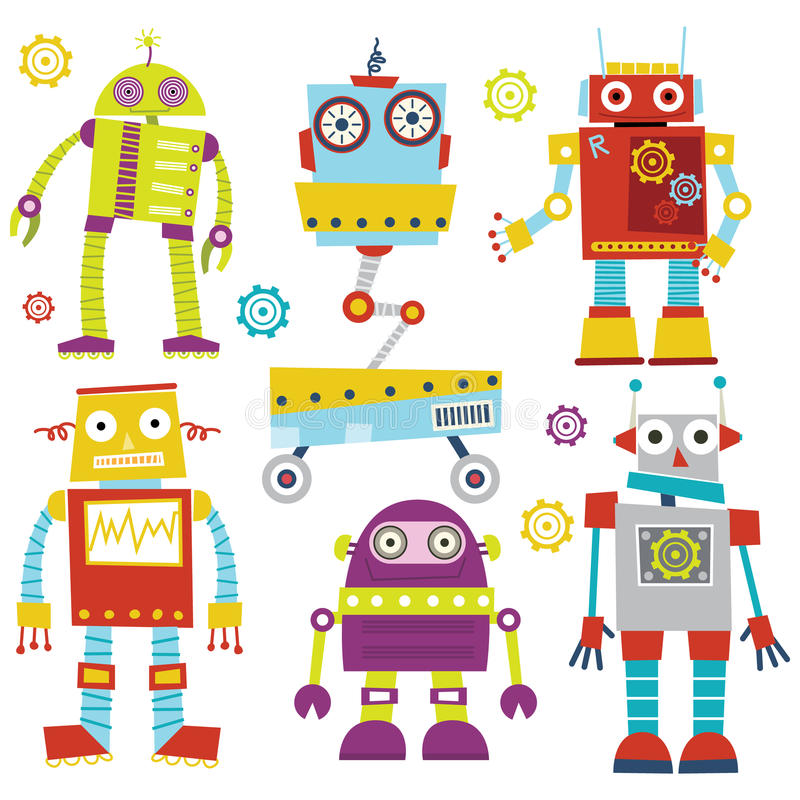 Robots mignons illustration de vecteur