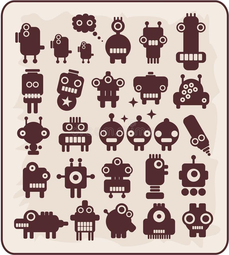 Robots, monstres, collection #4. d'étrangers. illustration de vecteur