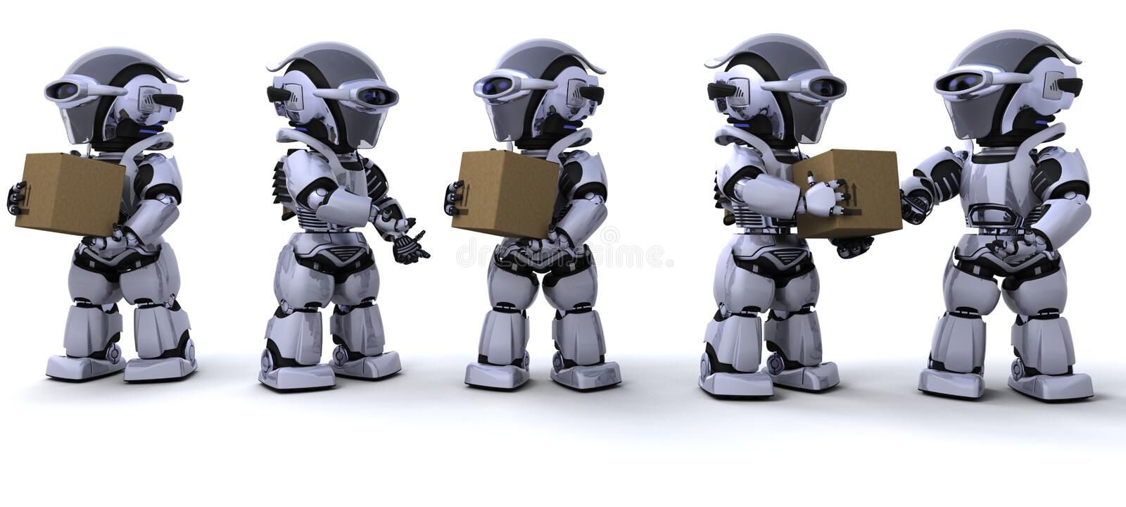 Robots moving shipping boxes vector illustration