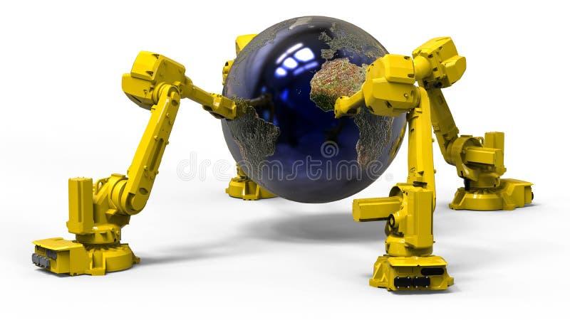 Robots mundiales stock de ilustración