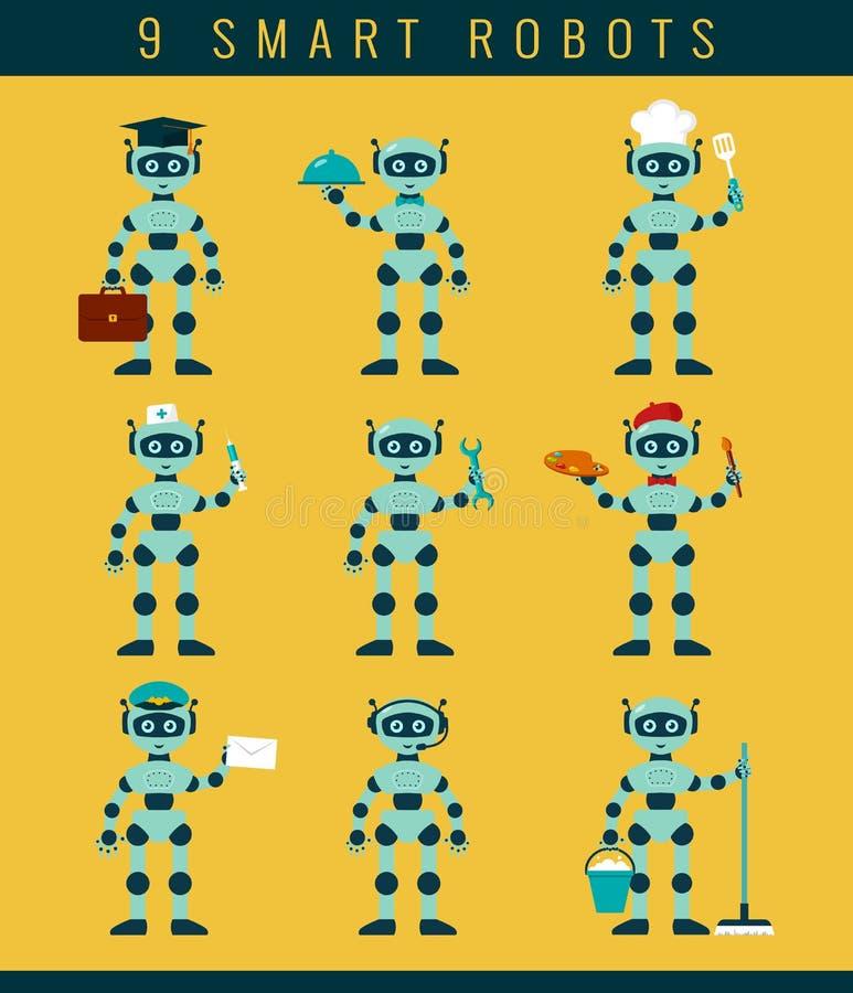 Robots ockupationer Sömlös blom- bakgrund royaltyfri illustrationer