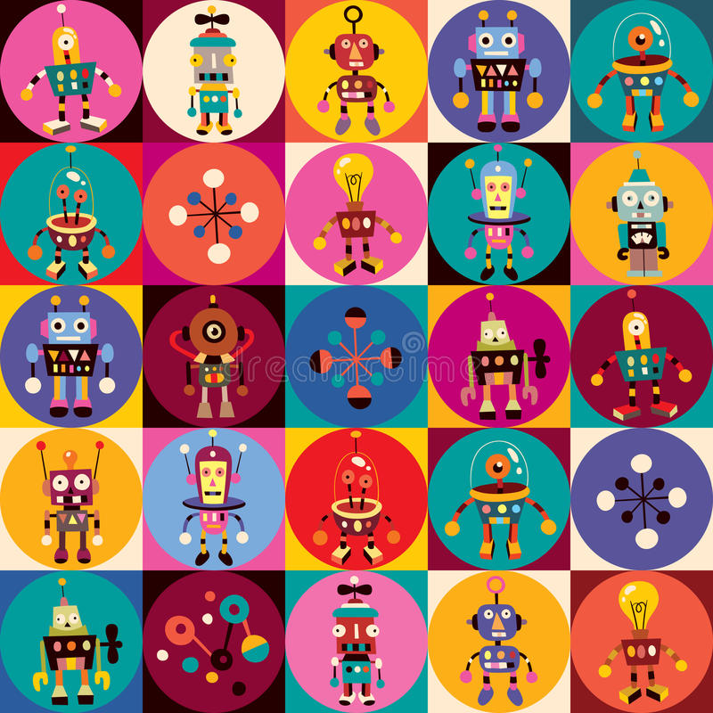 Robots pattern. Cute retro robots pattern illustration