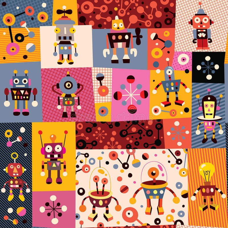 Robots pattern royalty free illustration