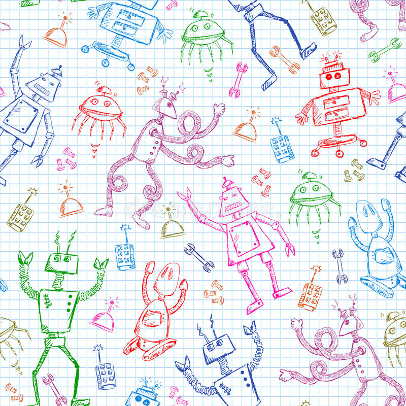 Robots pattern. Seamless pattern with doodles of robots royalty free illustration