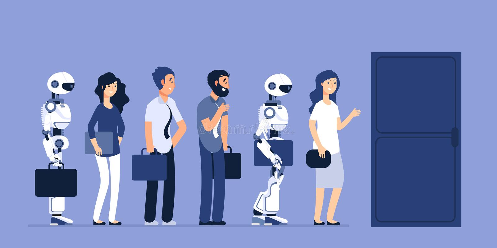 Robots and people unemployment. Android and man competition for job. Recruitment vector concept. Job, recruitment robotic and human illustration royalty free illustration