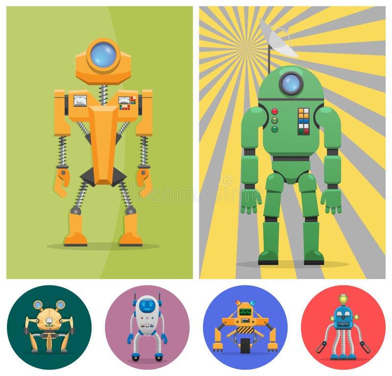 Robots peu communs en métal avec de diverses fonctions réglées illustration stock