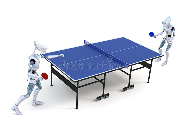 Robots Playing Table Tennis. Two robots playing a game of table tennis against a white background royalty free illustration