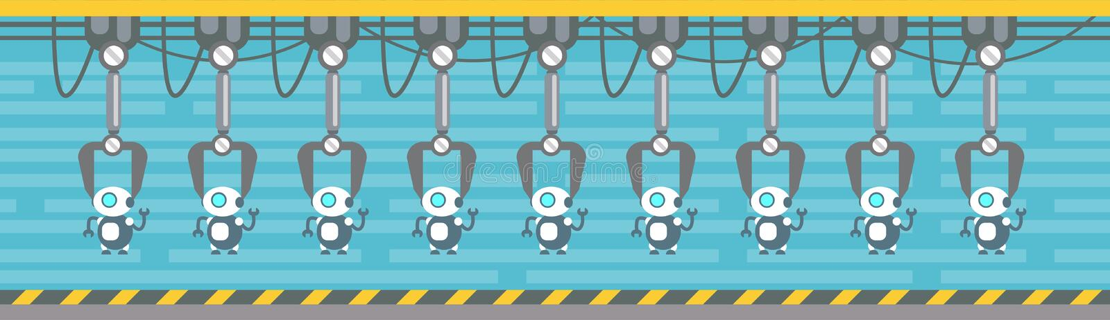 Robots Production Conveyor Automatic Assembly Machinery Industrial Automation Industry. Flat Vector Illustration royalty free illustration