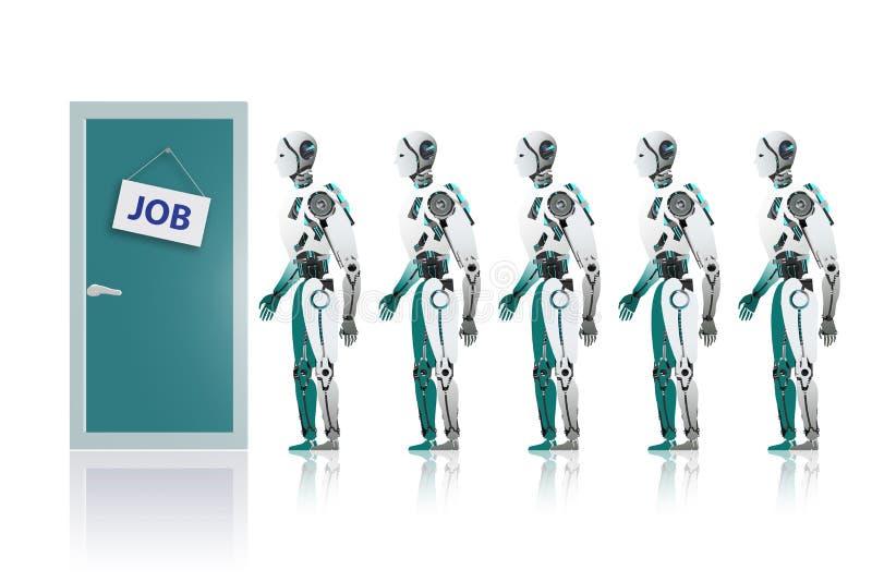 Robots que hacen cola para arriba para el trabajo stock de ilustración