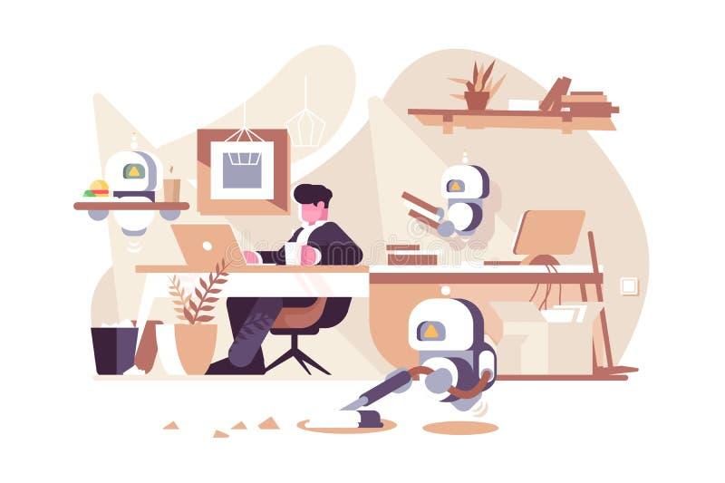 Robots que trabajan en oficina libre illustration