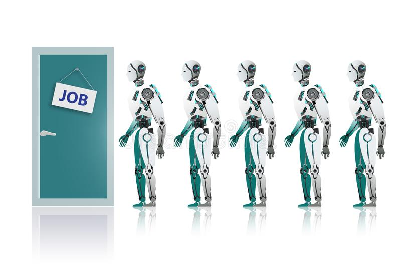 Robots queuing up for job stock illustration