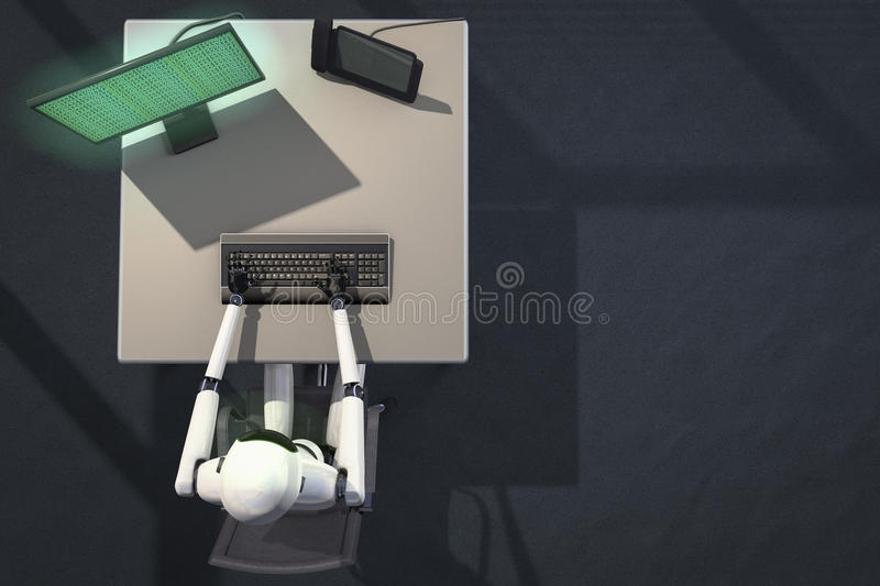We are the robots. Robot in data processing 3d rendering vector illustration