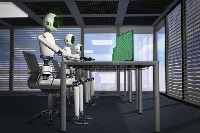 We are the robots. Robot in data processing 3d rendering stock illustration