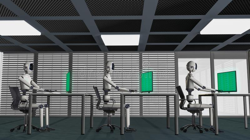 We are the robots, robots working in an office. 3d rendering royalty free illustration
