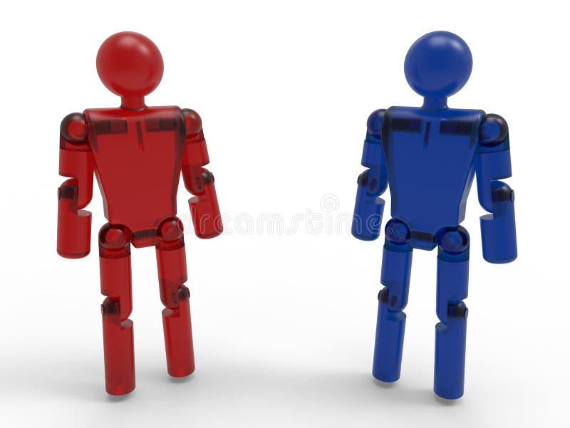 Robots rojos y azules stock de ilustración