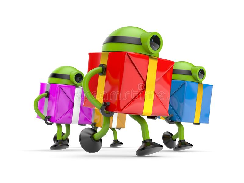 Robots run to holidays. 3D Robots run to holidays royalty free illustration