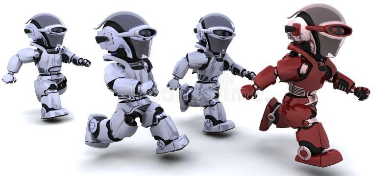 Robots running stock illustration