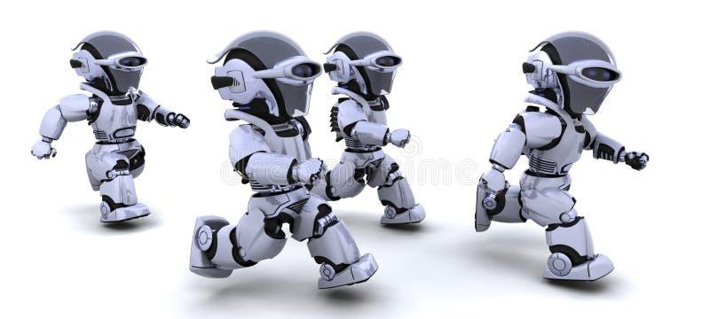 Robots running vector illustration
