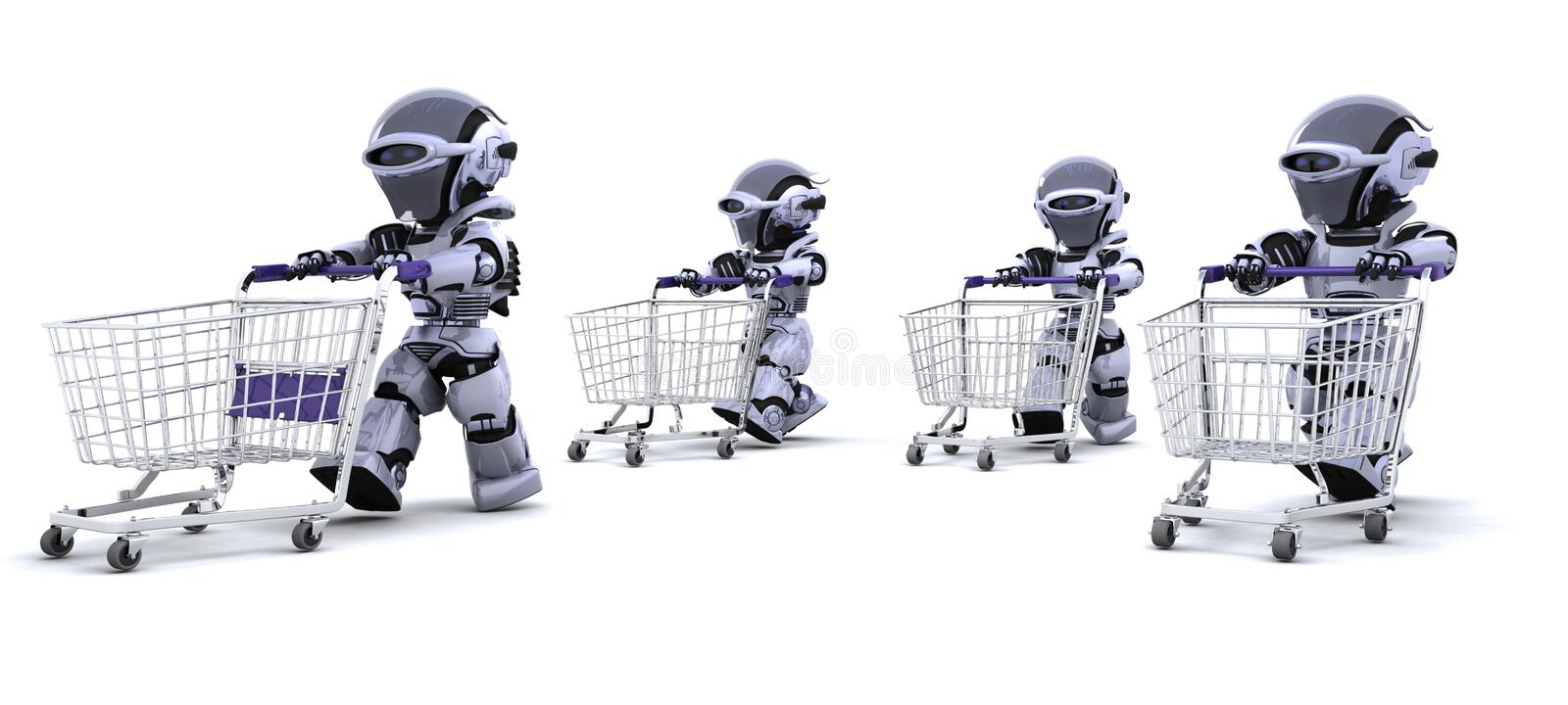 Robots running with shopping carts vector illustration