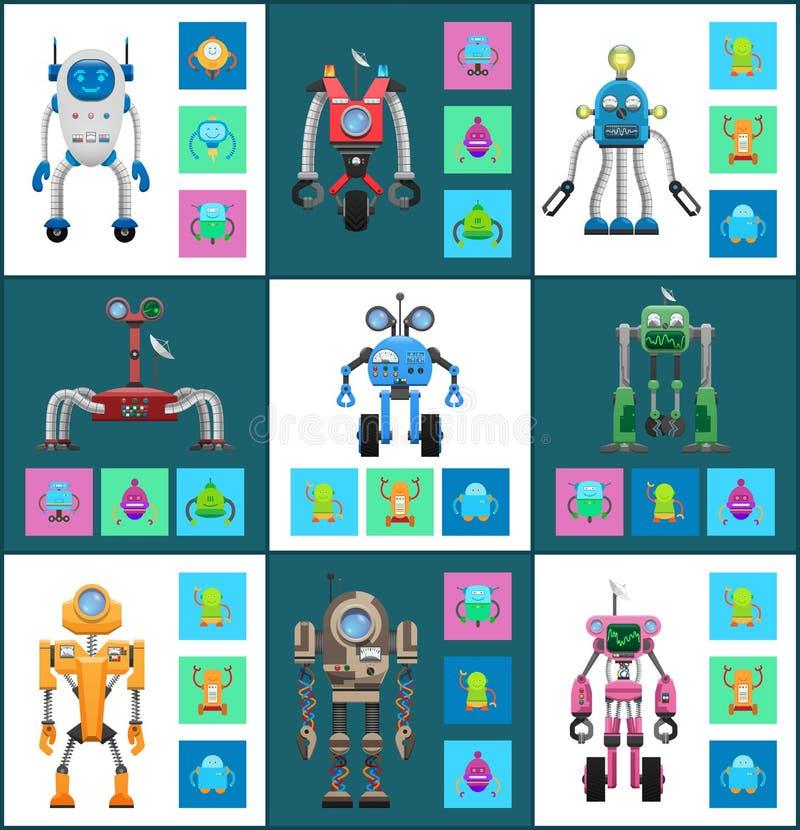 Robots sans fil modernes avec l'ensemble de contrôle de Dinstant illustration stock