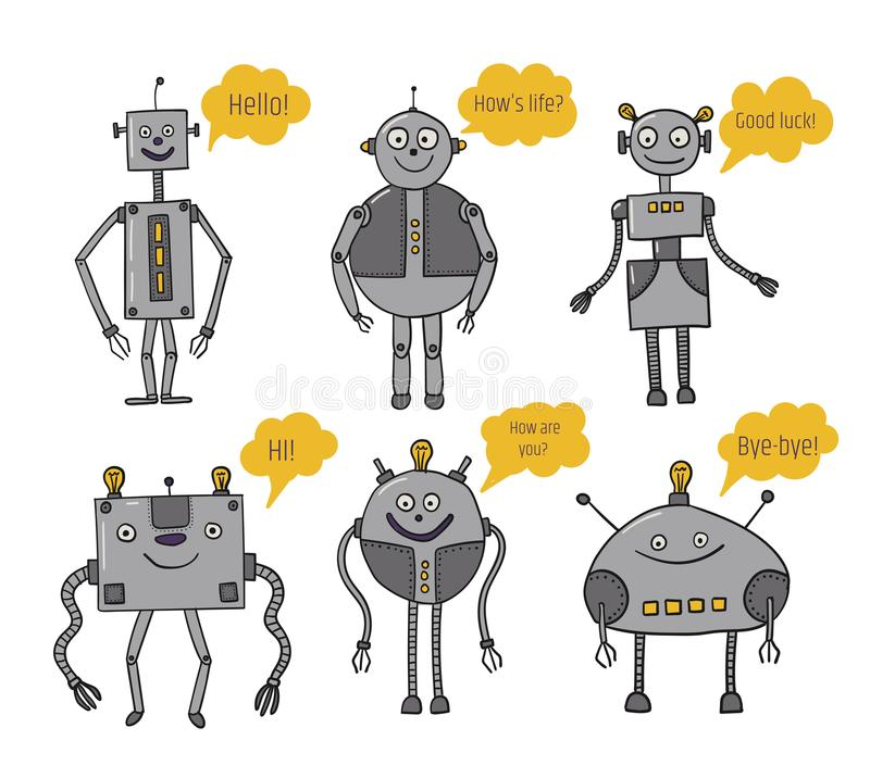 Robots set. Bots say. Artificial Intelligence. Future technologies. Metal characters. Robotization and automation of royalty free illustration