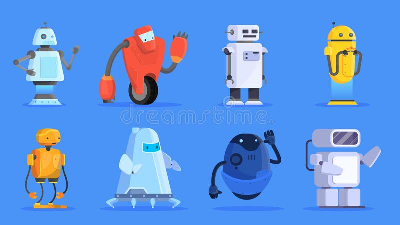 Robots set. Group of futuristic character of various shape royalty free illustration