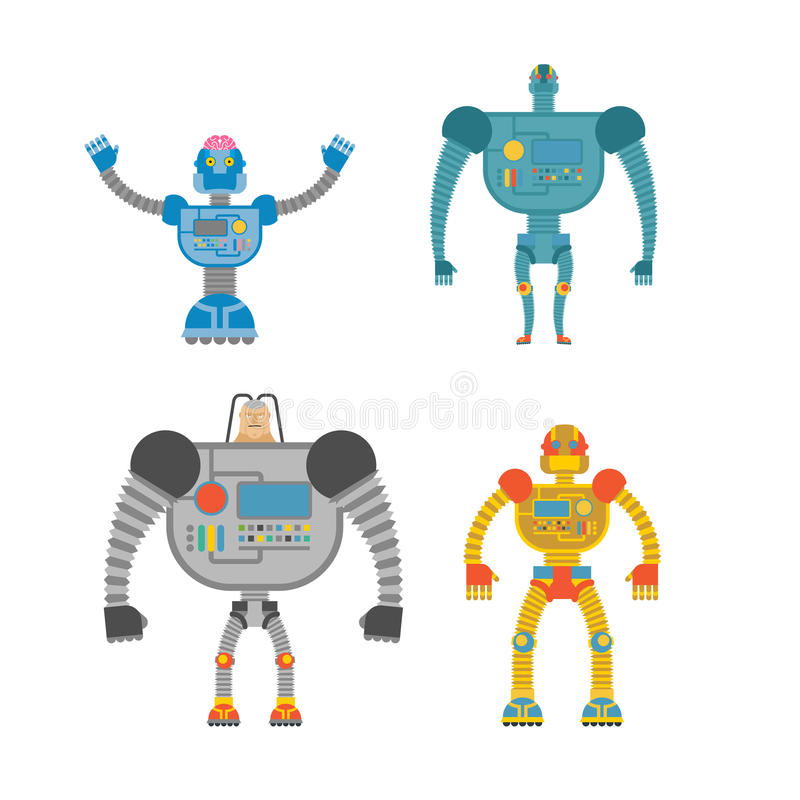 Robots Set . Space invaders Cyborgs. Iron colored robots. royalty free illustration