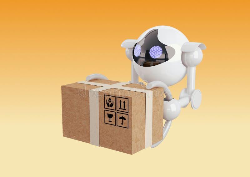 Robots, sferische hommels die met doos in hun klauwen vliegen stock illustratie