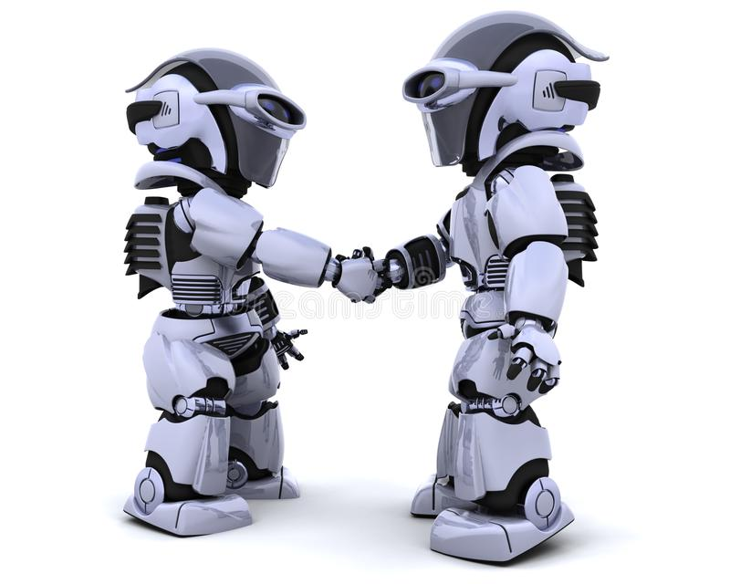 Robots shaking hands stock illustration