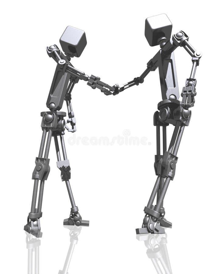 Robots shaking hands vector illustration