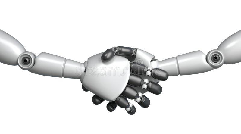 Robots shaking hands. 3D Rendering. royalty free illustration