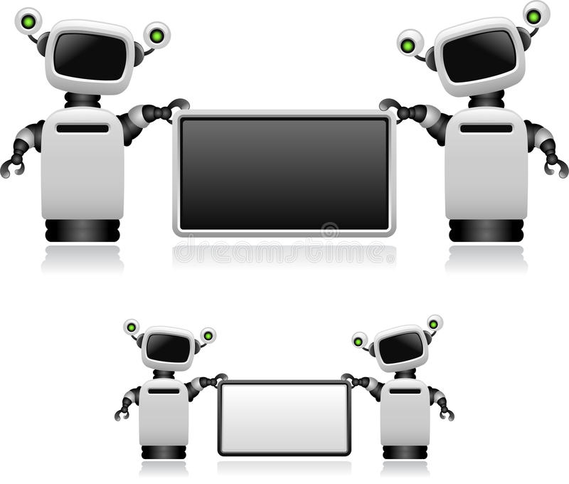 Download Robots With Sign stock vector. Image of black, data, equipment - 24171320