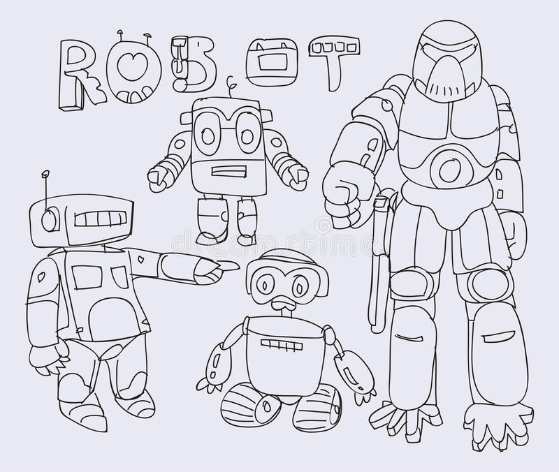 Robots. Simple Robots with doodling style vector illustration