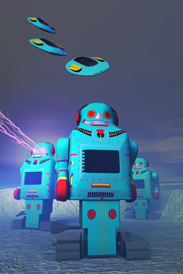 Robots sur l'attaque illustration stock