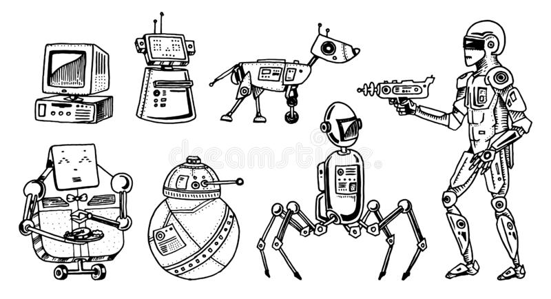 Robots and technology evolution. Stages Development of androids. Artificial intelligence concept. Hand drawn Future royalty free illustration