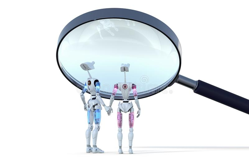 Robots Under Magnifying Glass royalty free stock images